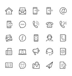 Contact us icon set in thin line style on white vector