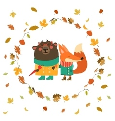 Cute fox and bear walking in wreath of autumn vector image vector image
