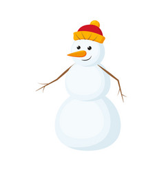 Cute funny snowman with carrot nose in knitted hat vector