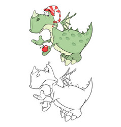 cute green dragon cartoon vector image