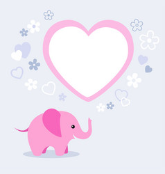 cute pink elephant with heart and empty text box vector image
