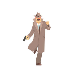 detective character running with gun private vector image
