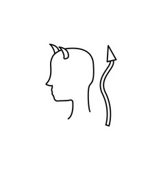 devil line icon vector image
