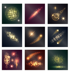 different color lighting effects nine shiny icons vector image