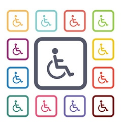 Disabled flat icons set vector