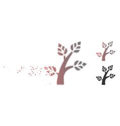 Disintegrating pixel halftone plant tree icon vector