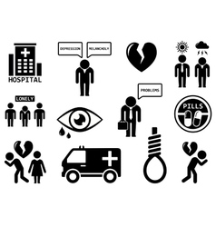 Emotional disorders concept icon set vector
