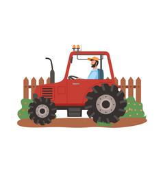 Farmer driving tractor on field farming season vector