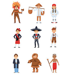 flat set of boys in national costumes of vector image