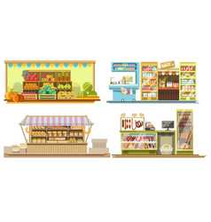 Food booths or grocery store interiors with vector