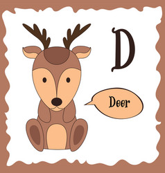funny cartoon animals d letter cute alphabet for vector image