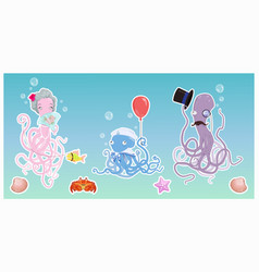 funny octopus family in ocean cartoon vector image