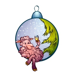 fur-tree toy with funny sheep vector image