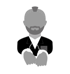 grayscale arrested man with handcuffs icon vector image