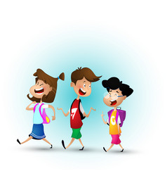 group of kids going to school together vector image