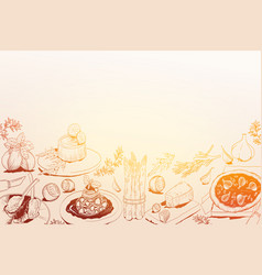 hand drawn background with mediterranean food vector image