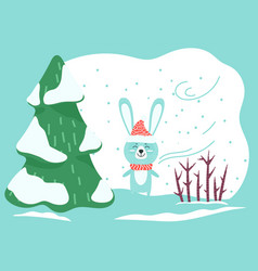 Hare or rabbit stand in winter forest wild animal vector
