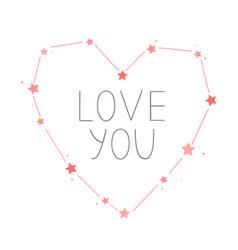 heart shape constellation valentine day vector image