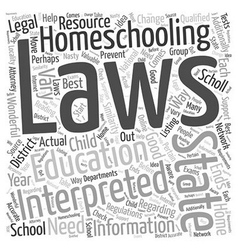 Is homeschooling legal Word Cloud Concept vector