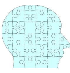 Jigsaw puzzle human head blue background vector image