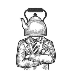 Kettle pot head businessman sketch engraving vector