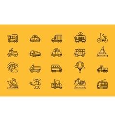Kinds of Transport Set Black Outline Icons vector image