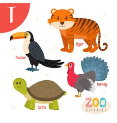 Letter T Cute animals Funny cartoon animals in vector