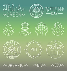 Linear ecology and organic badges and logos vector