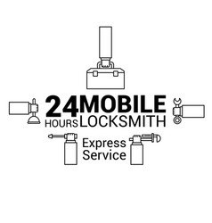 Mobile locksmith logo in in the lines vector