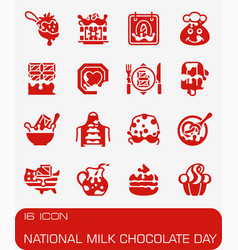 National milk chocolate day icon set vector
