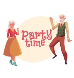 Old man and woman dancing cartoon invitation vector image