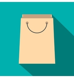 Paper shopping bag flat icon vector image