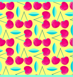 pattern witn cherries and leaves vector image
