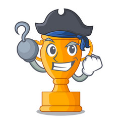 Pirate character gold trophy award for competition vector
