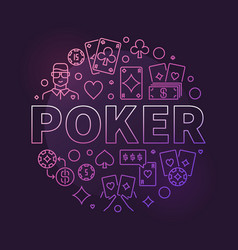 Poker modern colored round line concept vector