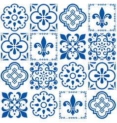 Portuguese tiles pattern lisbon seamless vector