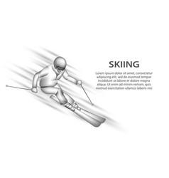 professional skiing neon vector image