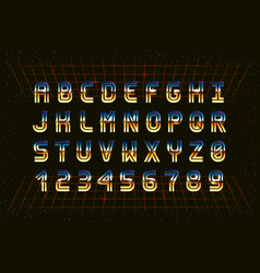 retro chrome font in style 80s vector image