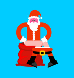 santa on toilet red bag bad christmas grandfather vector image
