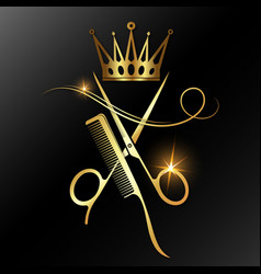 Scissors with comb and golden crown vector