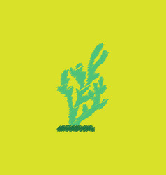Seaweed icon in hatching style vector