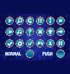 set christmas buttons for web and 2d games ui vector image