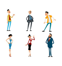 set fashionable funny characters vector image