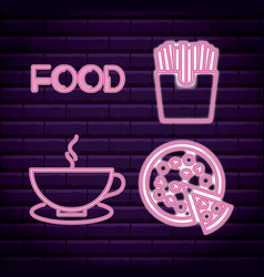 set fast food neon light label vector image