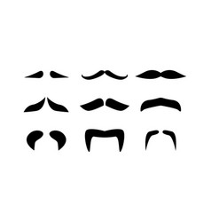 set mustaches isolated on white background vector image
