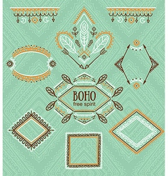 Set of ornamental frames indian collection for vector image
