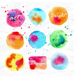 Set of watercolor stains bright design elements vector image