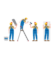 Set workers put plaster on a stepladder with a vector