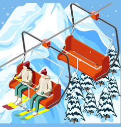 Ski resort funicular isometric background vector