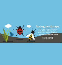 Spring landscape banner horizontal concept vector